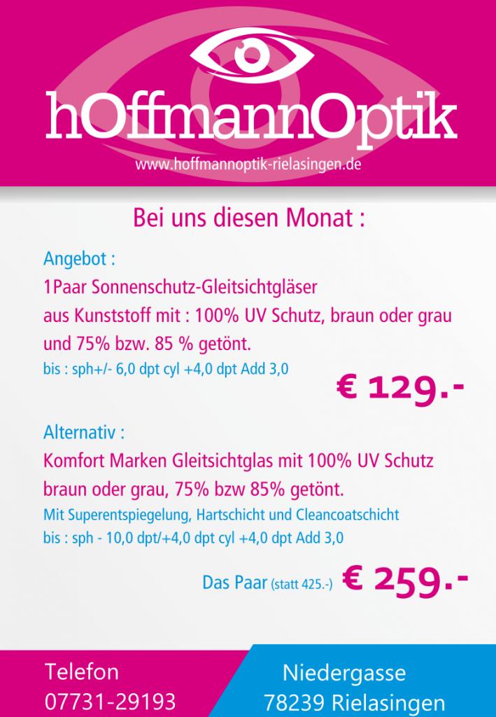 Angebot: Ein Paar Sonnenschutz-Gleitsichtgläser ab 129 Euro